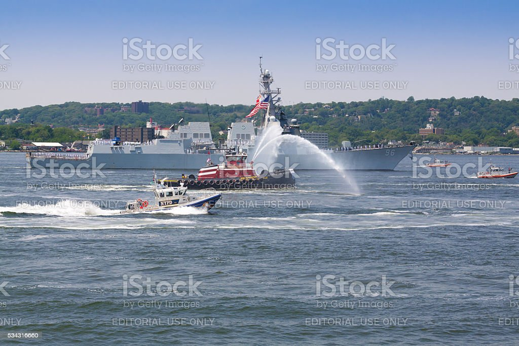 NYC Fleet Week 2016, destroyer USS Bainbridge (DDG 96). stock photo