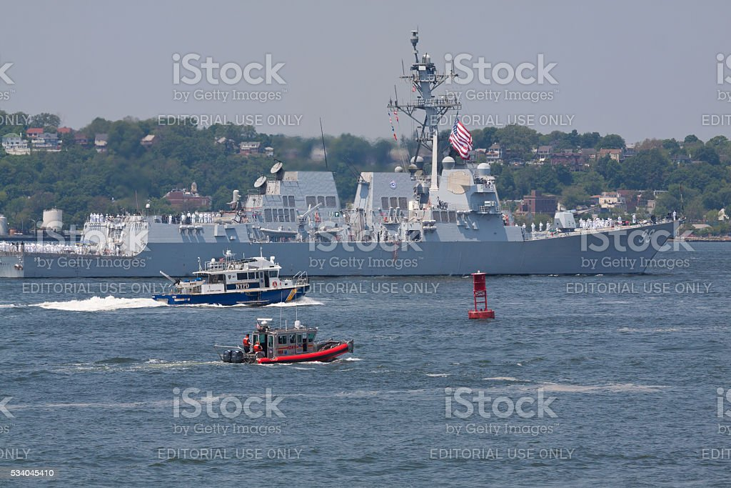 NYC Fleet Week 2016, destroyer USS Farragut (DDG 99). stock photo