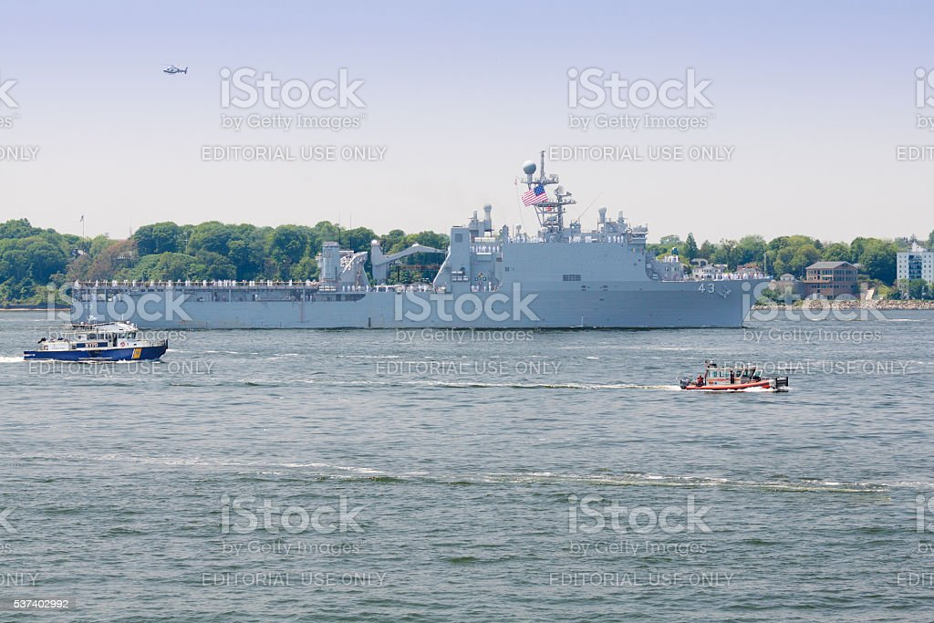 NYC Fleet Week 2016, landing ship USS Fort McHenry(LSD 43). stock photo