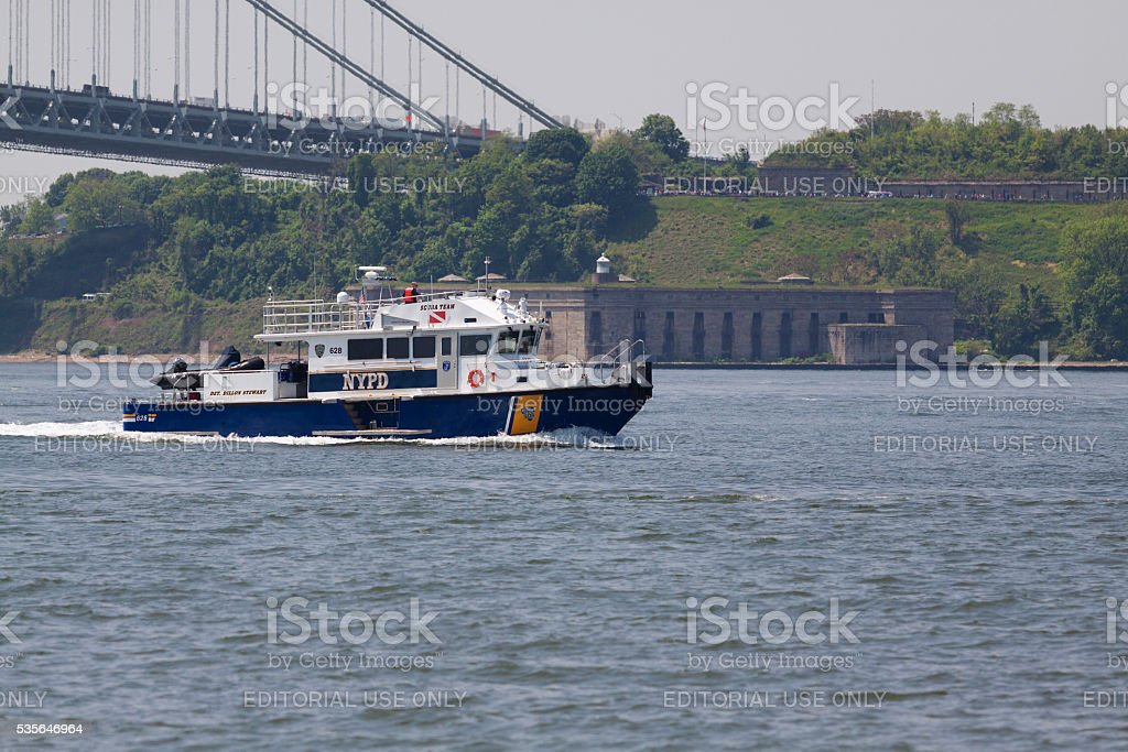 NYC Fleet Week 2016, NYPD Boat, NY Harbor. stock photo