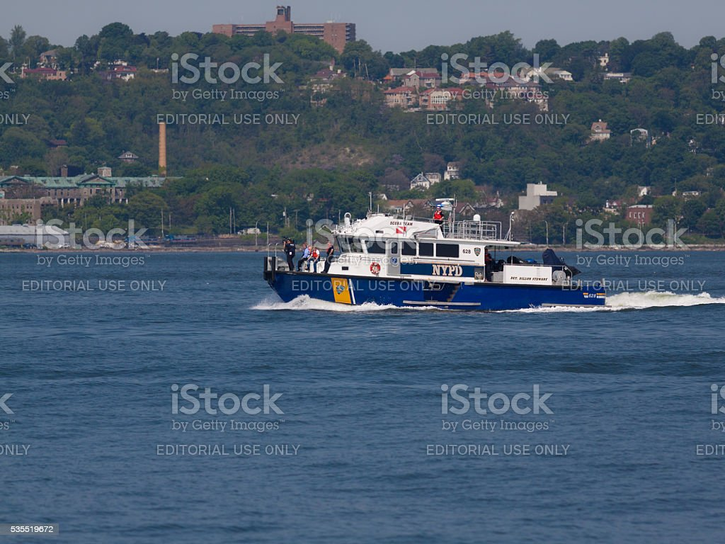 NYC Fleet Week 2016, NYPD Boat Speeding in NY Harbor. stock photo