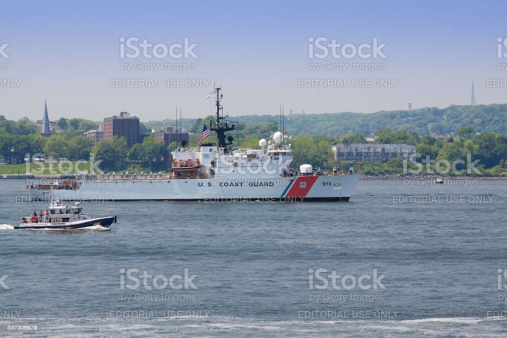 NYC Fleet Week 2016, US Coast Guard Boat, NY Harbor. stock photo