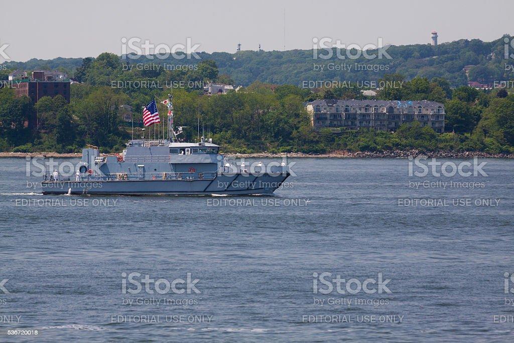 NYC Fleet Week 2016, USNA Yard Patrol Boat, NY Harbor. stock photo