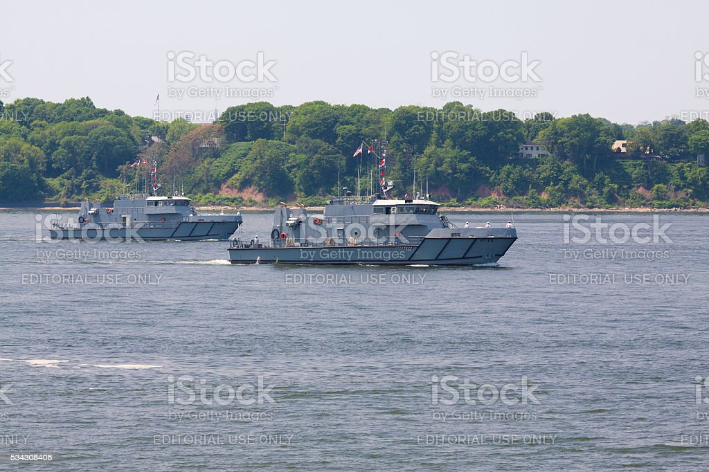 NYC Fleet Week 2016, USNA Yard Patrol Boats, NY Harbor. stock photo