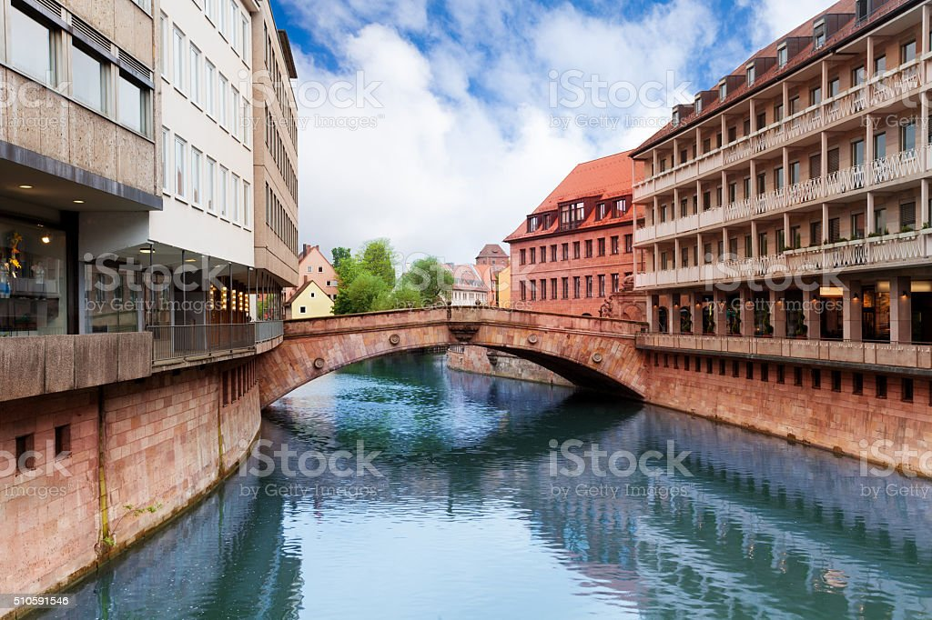 Fleisch Bridge view over Pegnitz River, Nuremberg stock photo