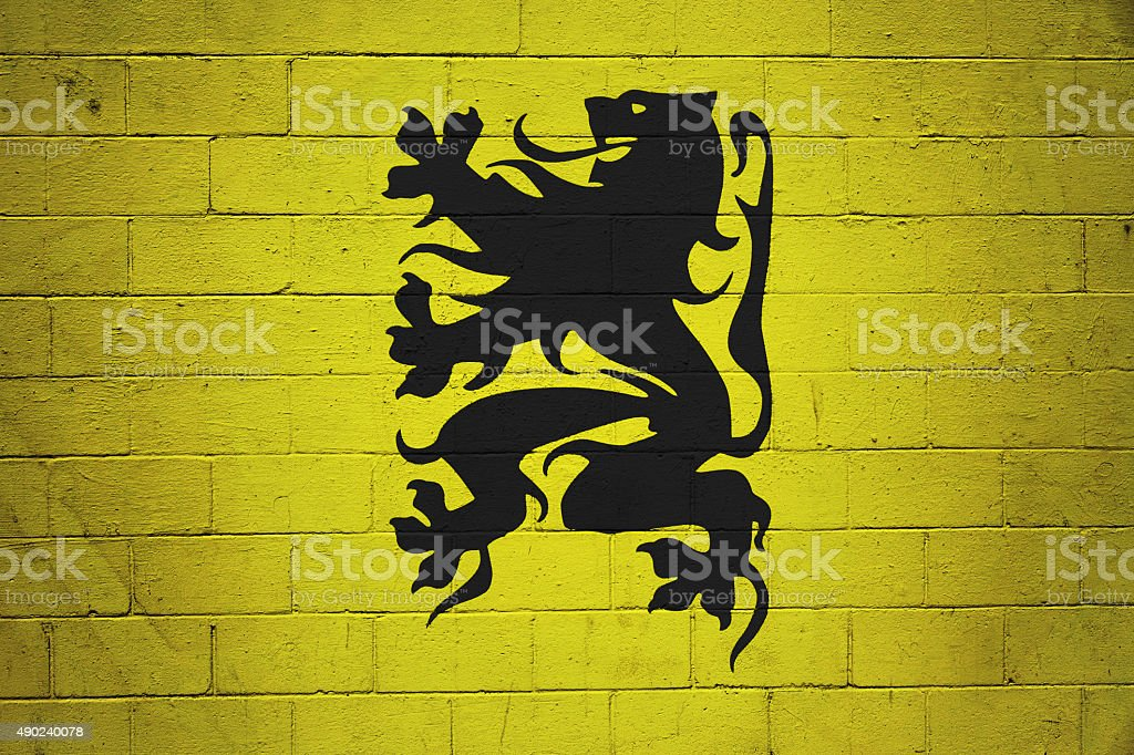 Flemish Flag painted on a wall stock photo