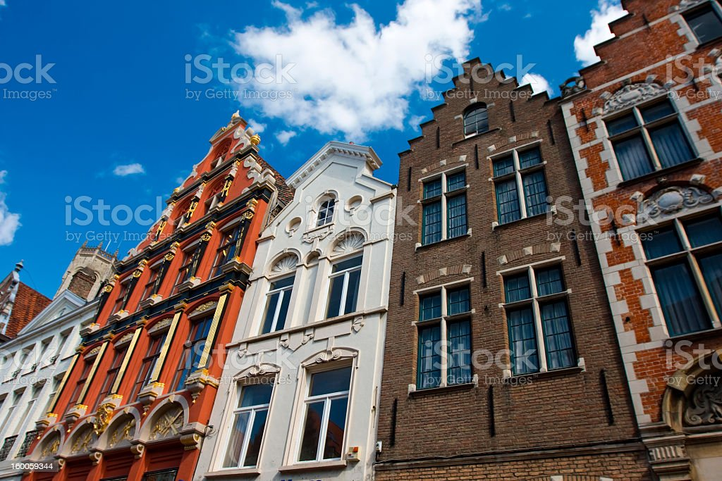 Flemish houses facades in Brugge, Belgium royalty-free stock photo