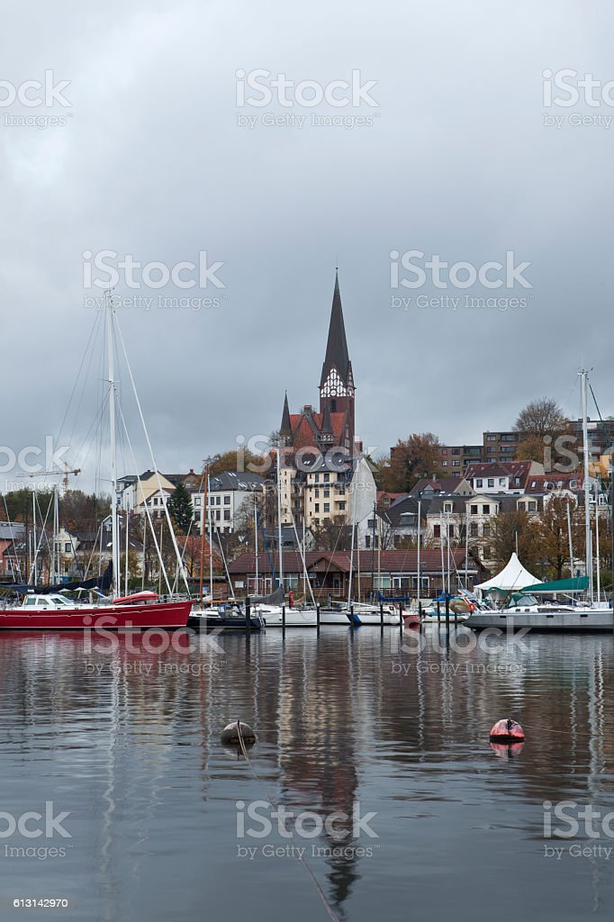 Flensburg Yachting Harbour with Church stock photo