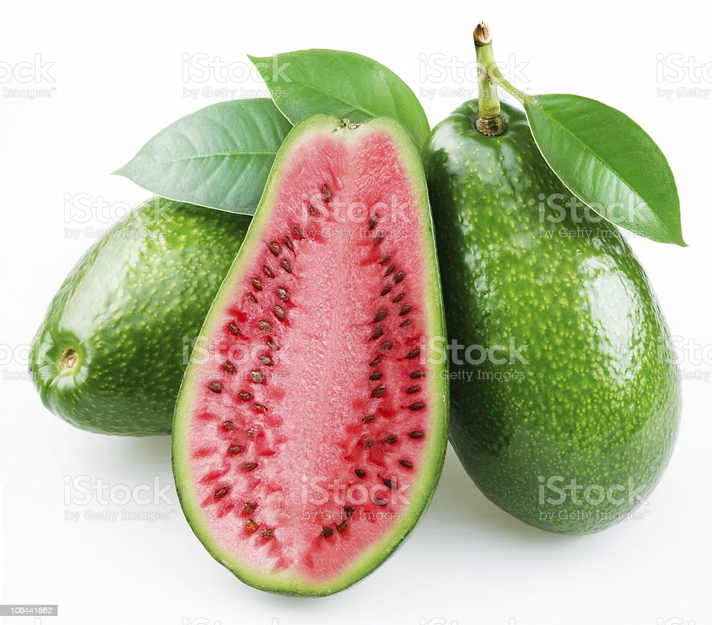 Flesh of watermelon on the cut avocado. royalty-free stock photo