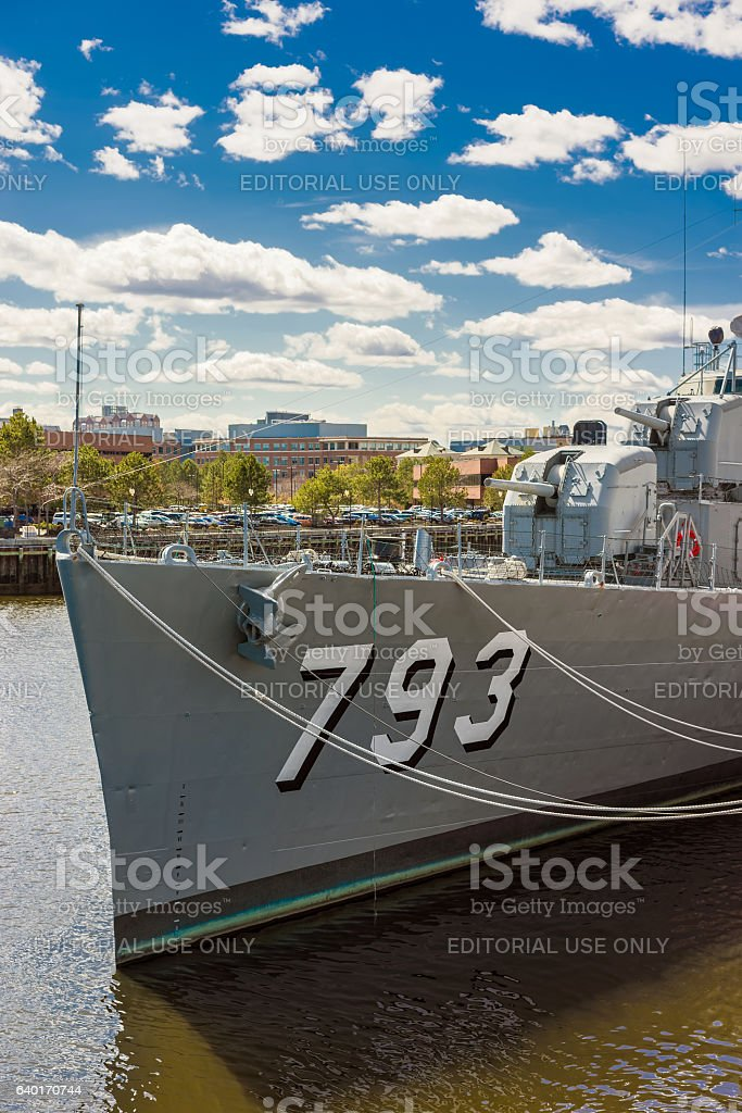 Fletcher class destroyer USS Cassin Young in Navy Yard Boston stock photo