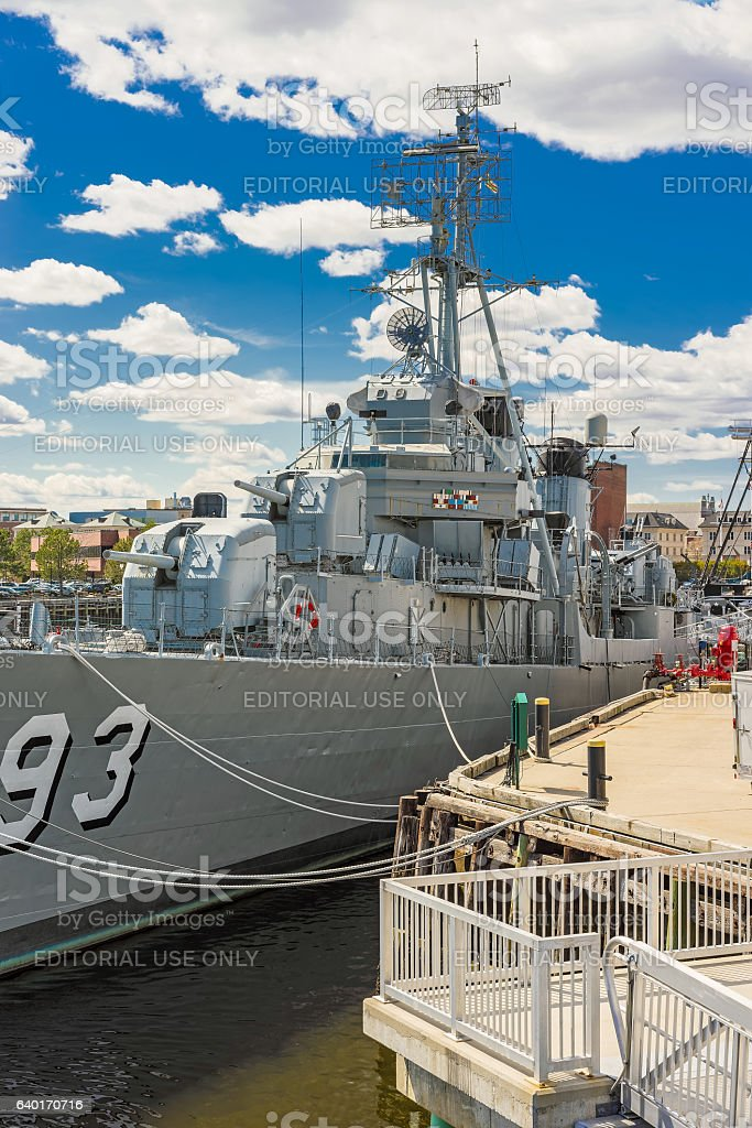 Fletcher class destroyer USS Cassin Young Navy Yard in Boston stock photo