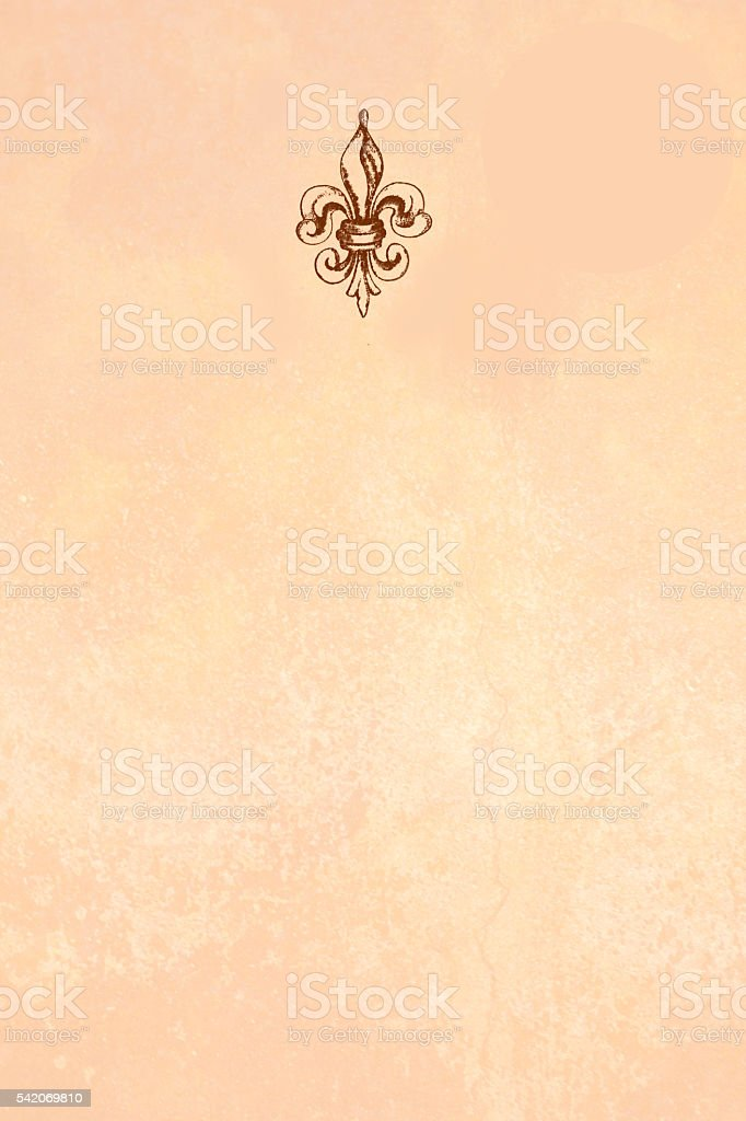 Fleur de lis at top of luxury stationery paper. stock photo