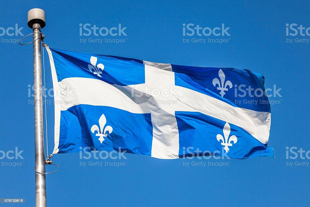 Fleur de Lys Provincial Flag of Quebec stock photo