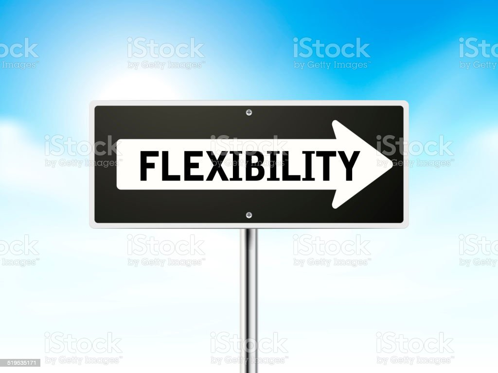 flexibility on black road sign stock photo