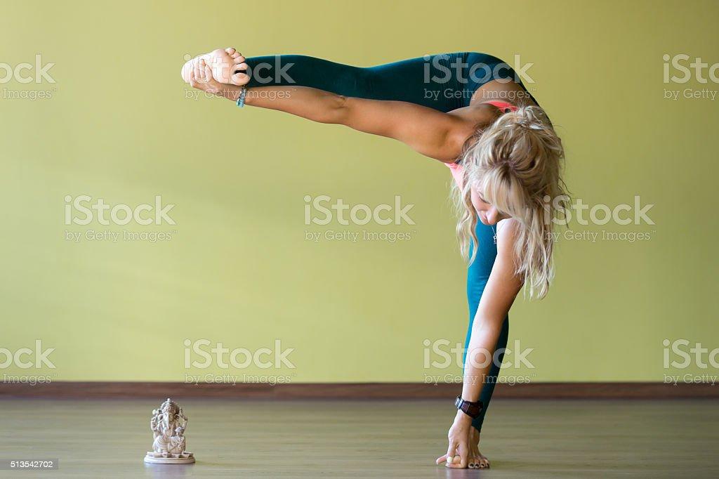 Flexibility yoga training stock photo