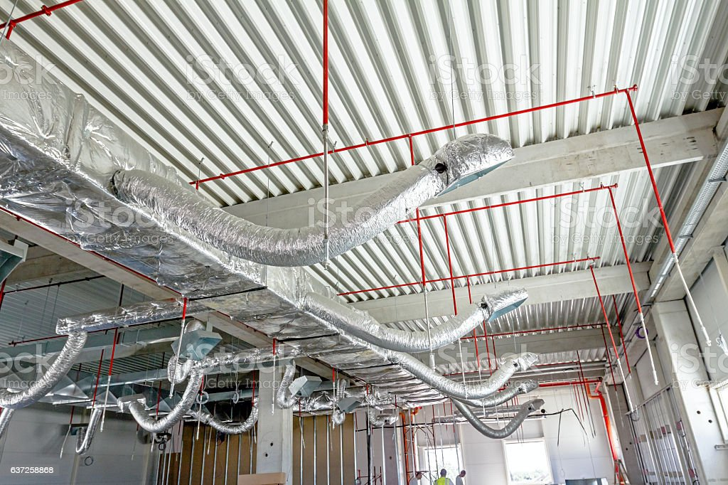 Flexible air conditioning and fire fighting system is placed on stock photo