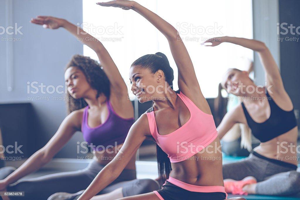 Flexible beauties. stock photo