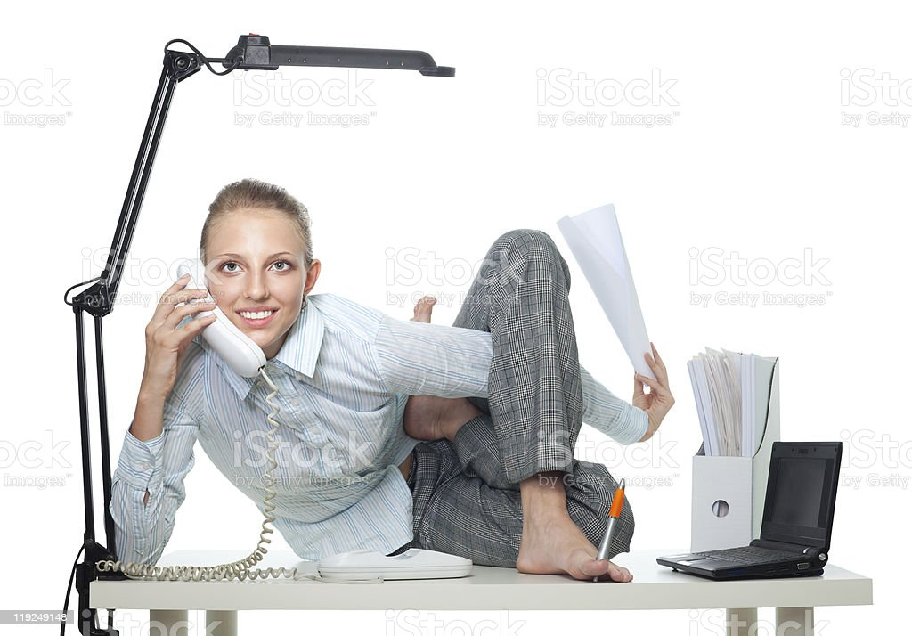 Flexible business woman talk by phone stock photo