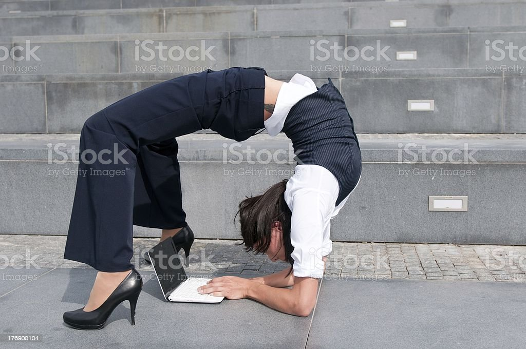 Flexible business - woman with laptob stock photo