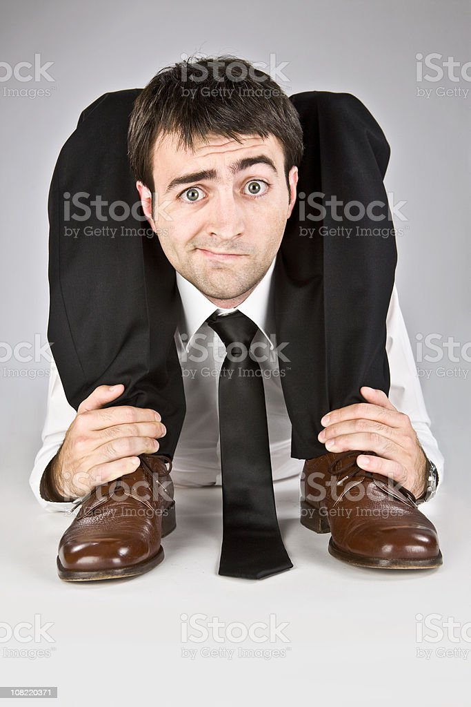 flexible contortion business manager with necktie stock photo