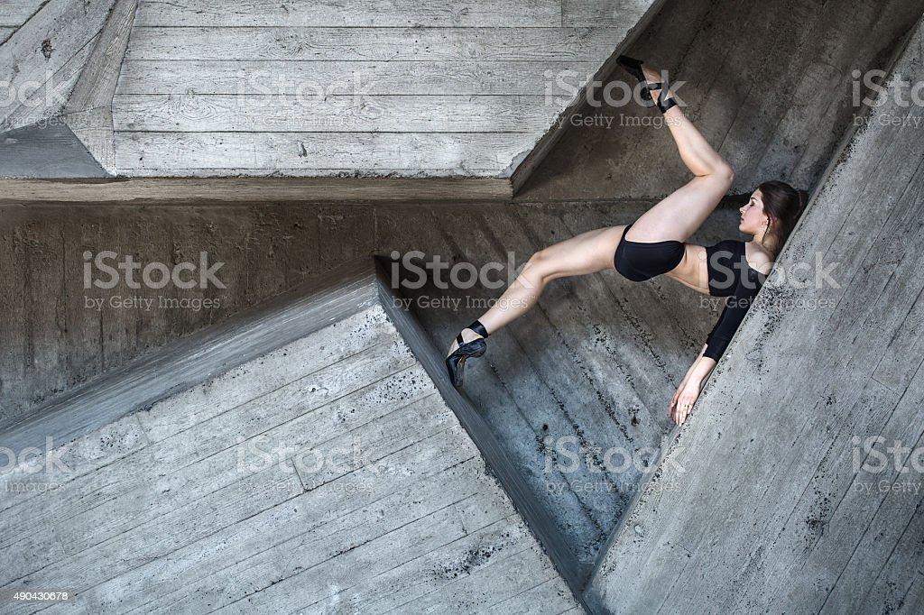 Flexible dancer posing stock photo