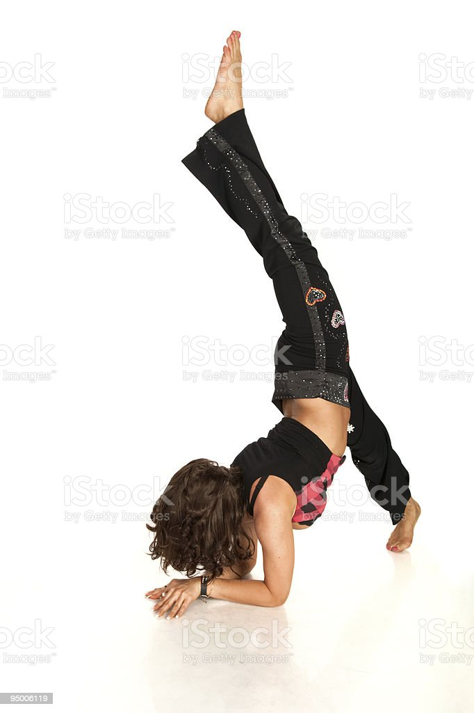 Flexible pretty woman stretching royalty-free stock photo
