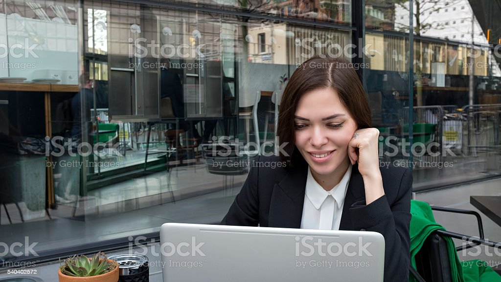 flexible working at the cafe stock photo