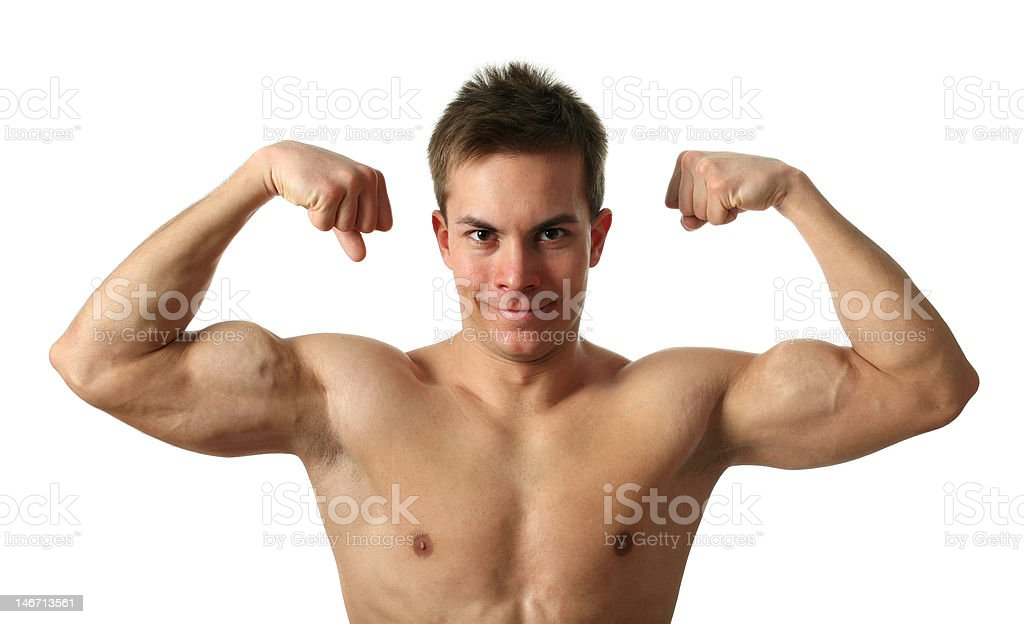 Flexing Biceps royalty-free stock photo