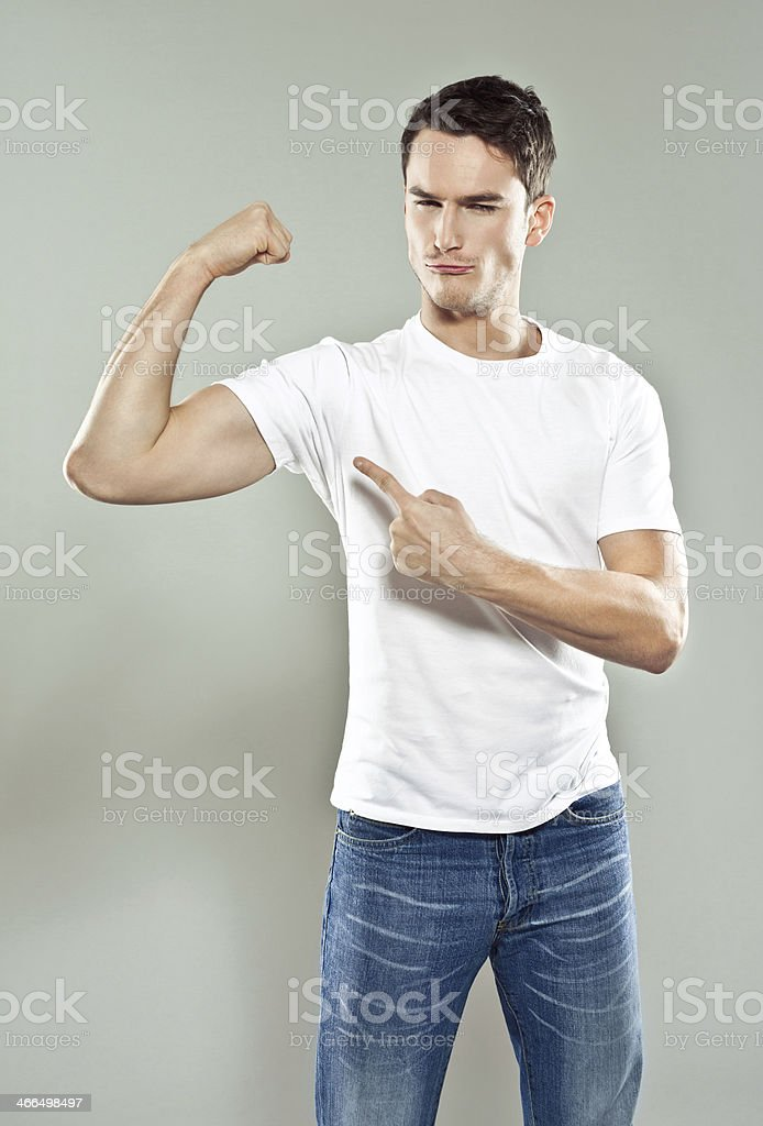 Flexing muscels stock photo