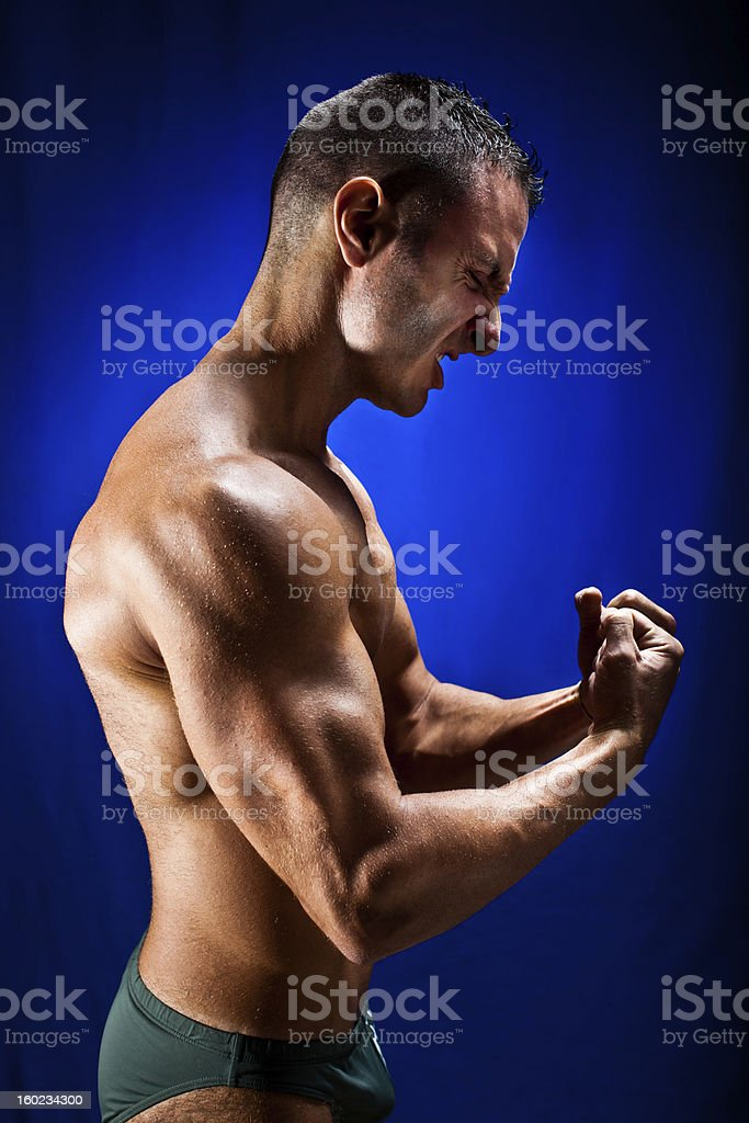 Flexing muscles royalty-free stock photo