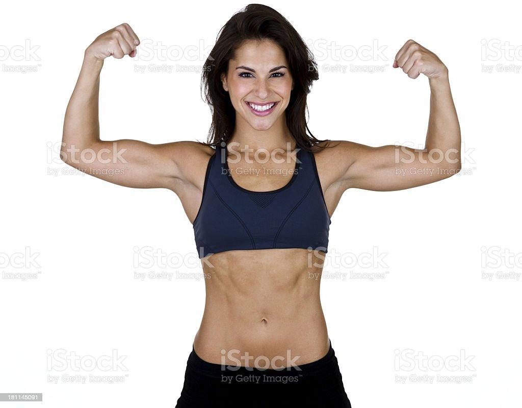 Flexing woman royalty-free stock photo