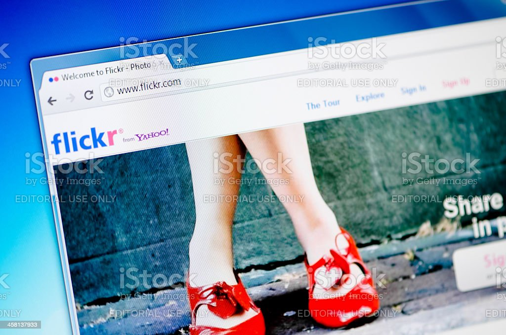 Flickr web page on the browser stock photo