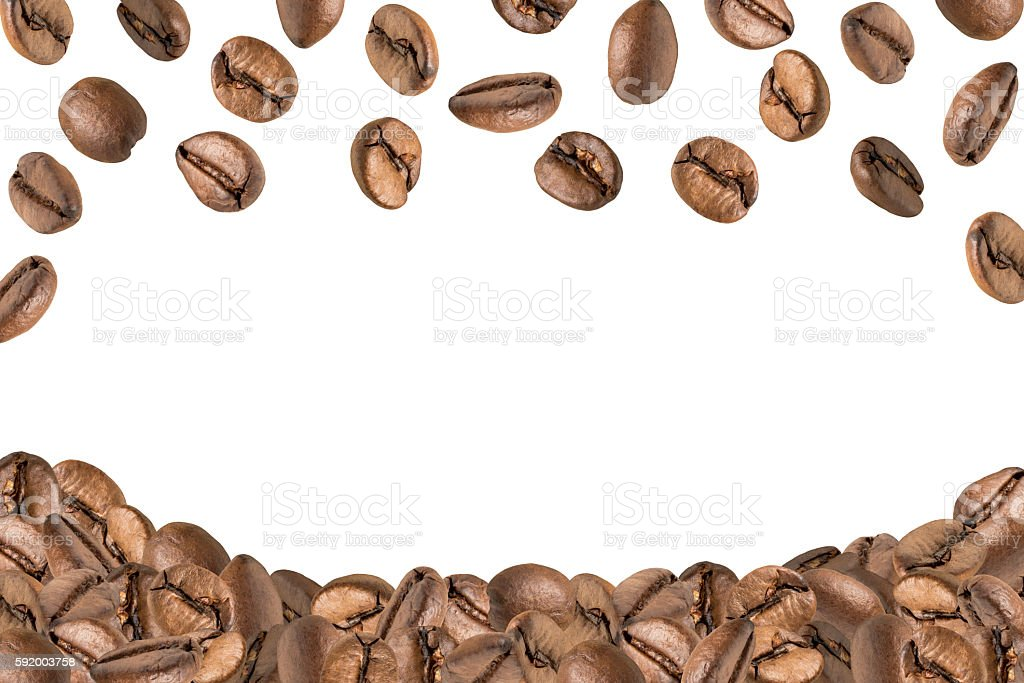 Fliegende und liegende Kaffeebohnen stock photo