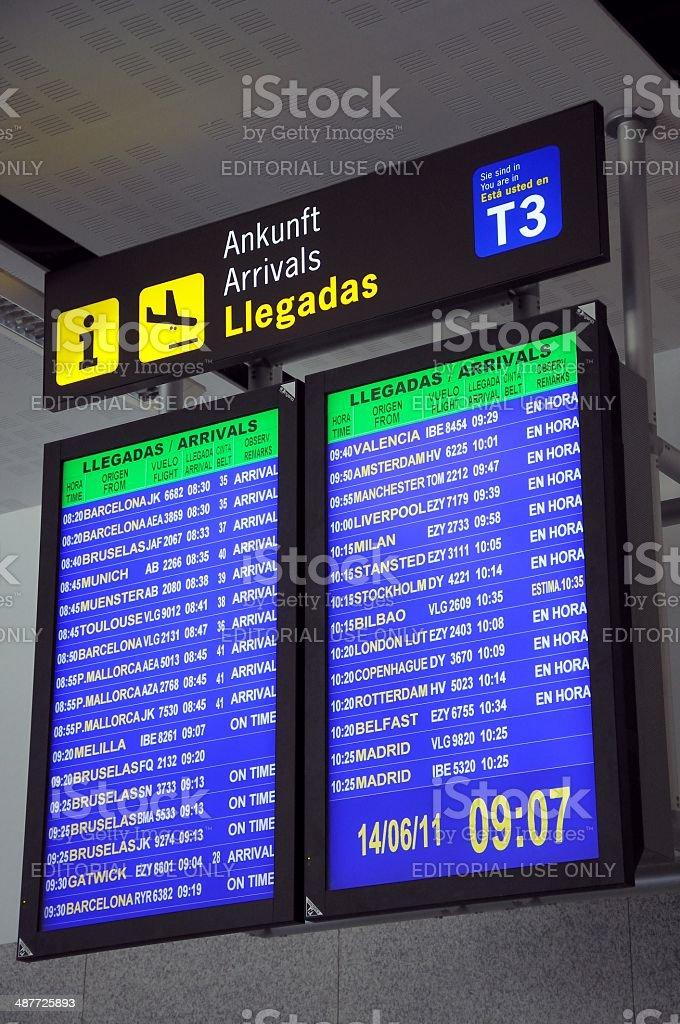 Flight arrivals monitor, Malaga airport. stock photo