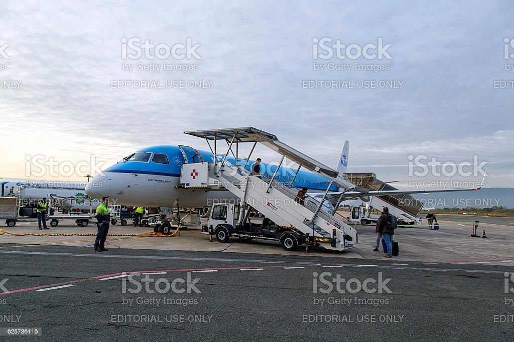 KLM Flight at Florence Airport stock photo