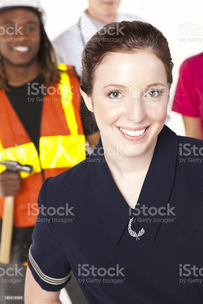 Flight Attendant And Other People With Various Occupations royalty-free stock photo