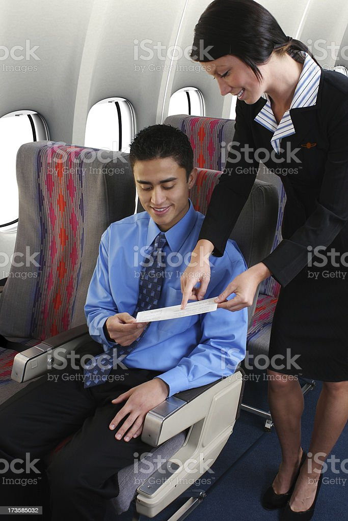 Flight Attendant Help royalty-free stock photo