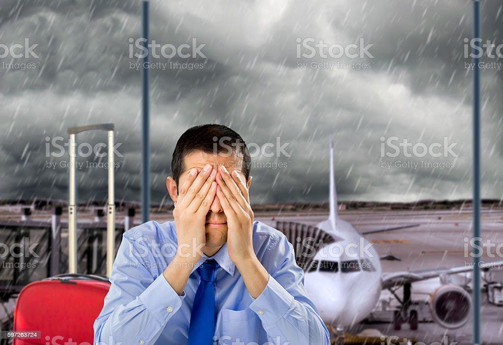flight canceled by bad weather stock photo