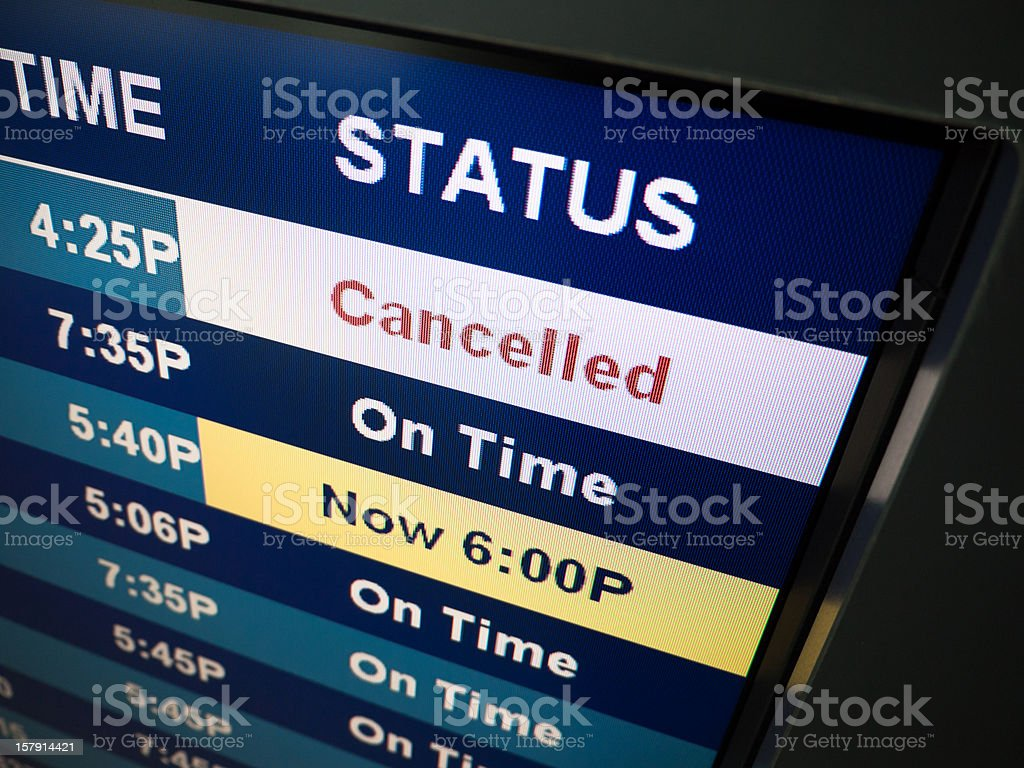 Flight Cancelled Sign stock photo