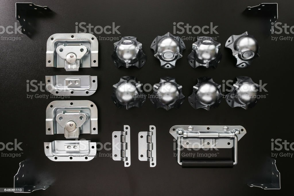 Flight Case Hardware for Music Equipment Shipping stock photo