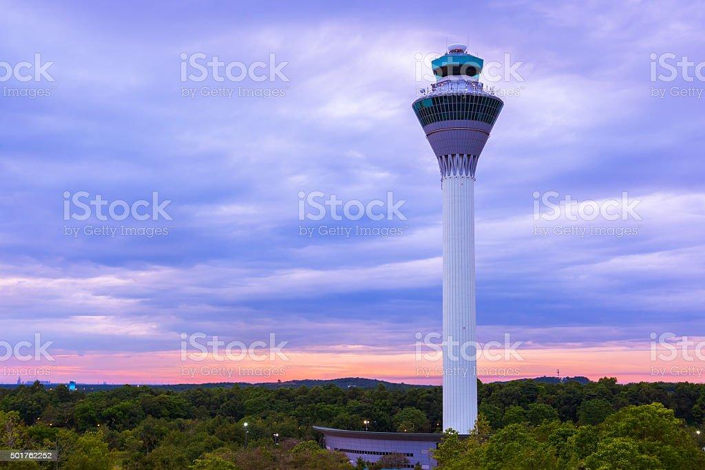 Flight control tower in Airport at Kuala Lumpur (Malaysia) stock photo
