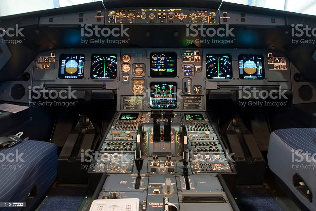 A320 flight deck stock photo