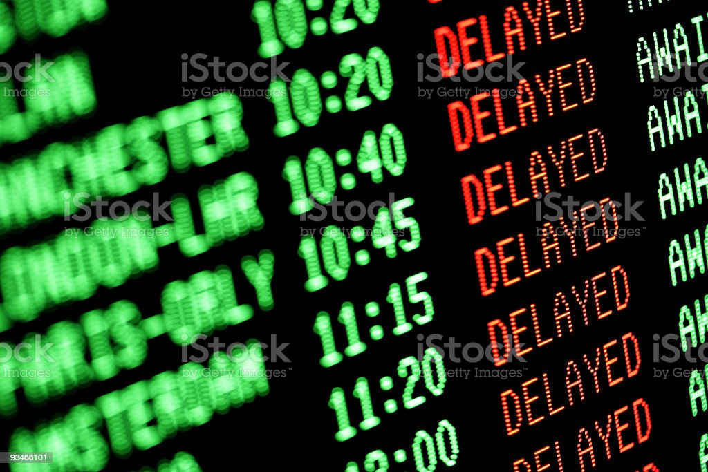 flight delays - delayed departures / arrivals screen stock photo