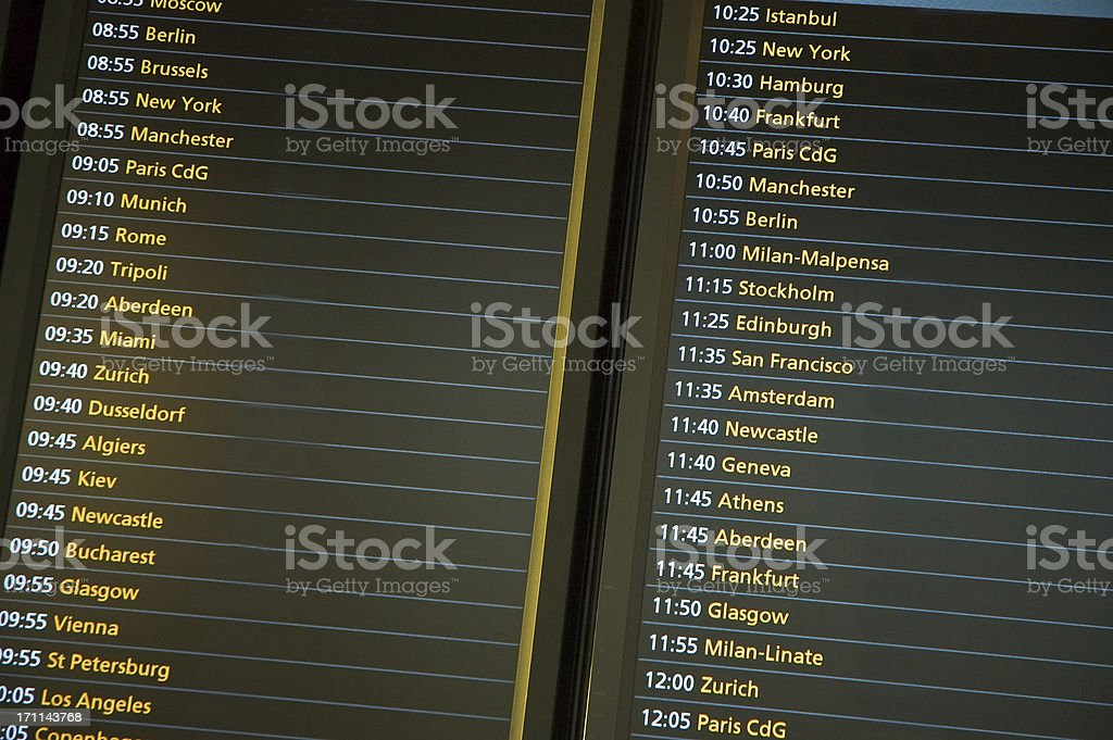 Flight Departure Board royalty-free stock photo