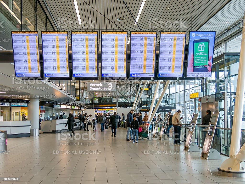 Flight departure board Schiphol Amsterdam Airport, Holland stock photo
