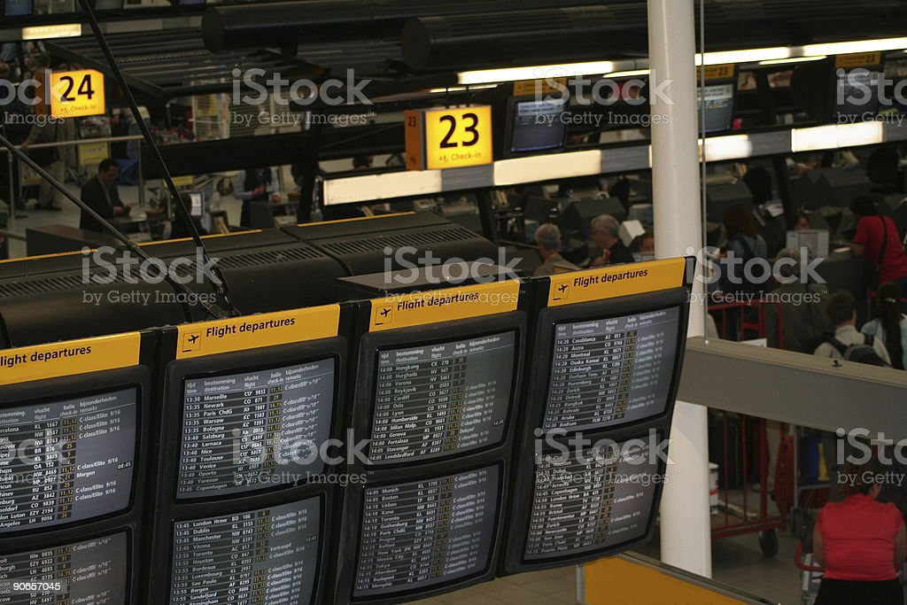 Flight destination information screens royalty-free stock photo