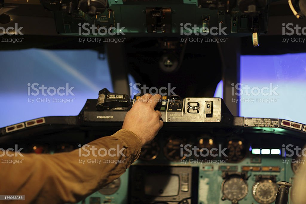 flight engineer switches on toggle royalty-free stock photo