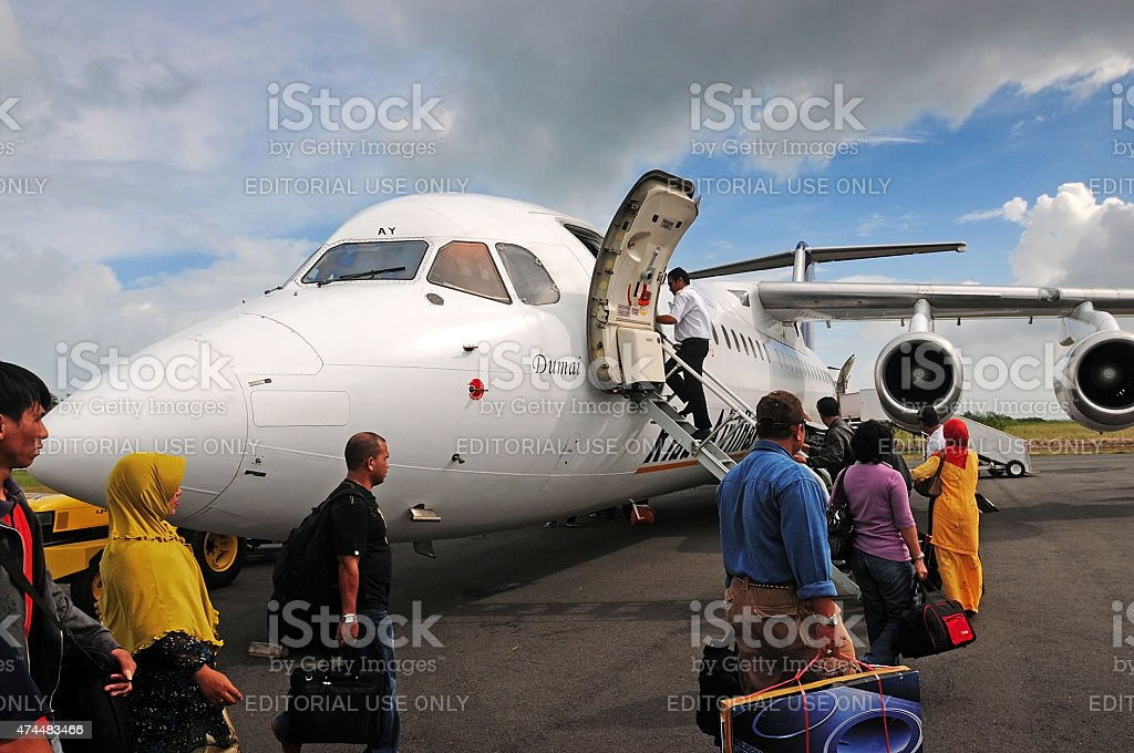 Flight in natuna stock photo