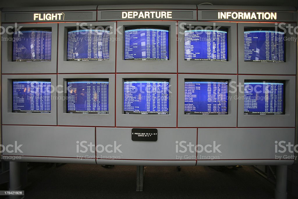 Flight Information Monitors at Airport royalty-free stock photo