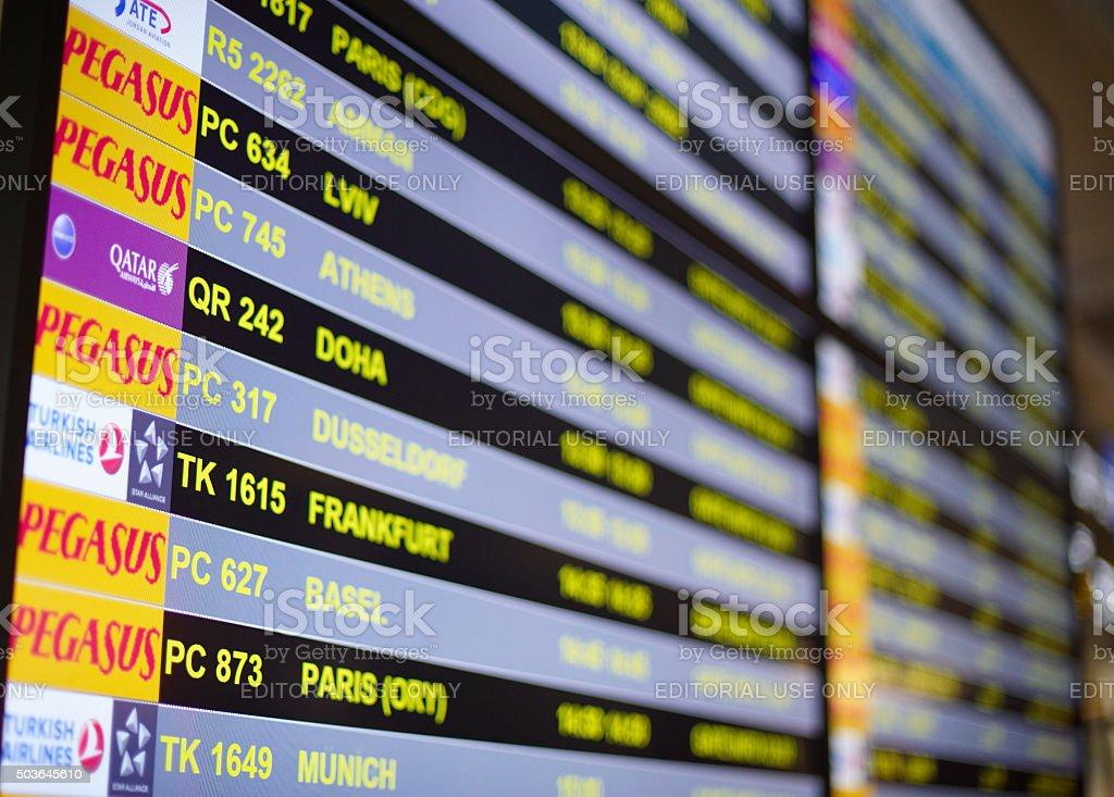 Flight information stock photo